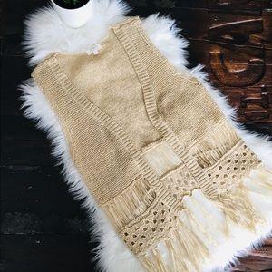 UMGEE Sleeveless Fringe Boho Cardigan Sweater S